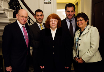 Robert Beal, Joseph Bachour, Alla Cohen, BostonCity Council President Michael P. Ross and JCRC Exective Director Nancy Kaufman